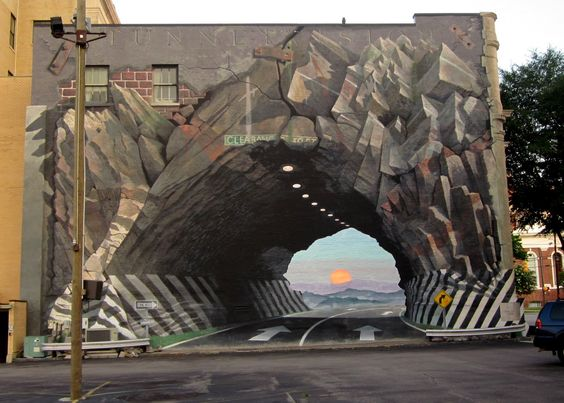 "Amazing 3D mural street art called ""Tunnelvision"" : Agfirst Bank in Columbia"