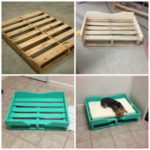 DIY PALLET DOG BED...what a great idea & looks so easy to make!  Featured on our BEST Pallet ideas!  http://kitchenfunwithmy3sons.com/2016/01/fun-finds-friday-the-best-diy-wood-pallet-ideas.html/
