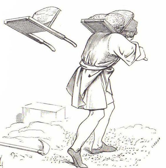 """El """"oiseau"""" es un util de madera con dos mangos que se colocaba sobre los hombros y servía para subir mortero. Esto nos confirma de paso que el mortero de cal que se utilizaba era muy compacto, de la consistencia de una masa de pan, a fín de que, al secarse y perder el agua que contiene, no aparecieran grietas."""