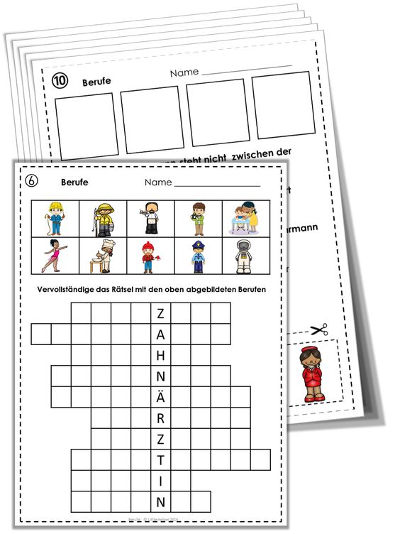 German Vocabulary Puzzles Berufe