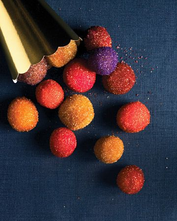 sugar-covered doughnut holes in vibrant jewel-tones
