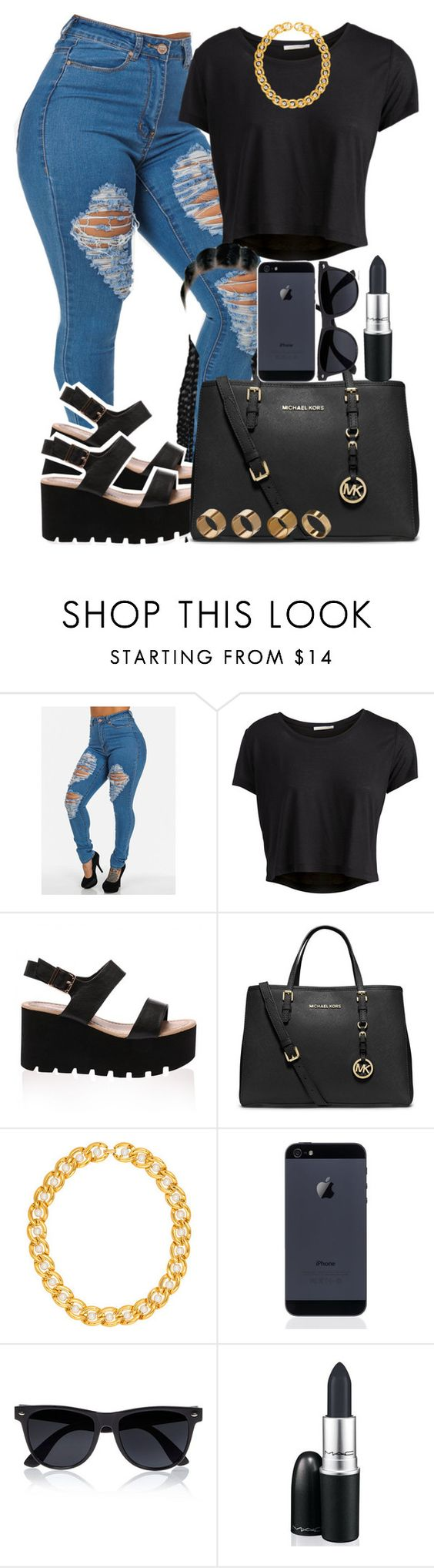 """""""Feeling a little Dark"""" by daqveen ❤ liked on Polyvore featuring Pieces, MICHAEL Michael Kors, River Island, M.A.C and Warehouse"""