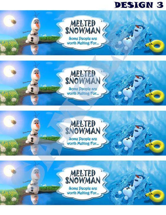 Disney Frozen Olaf Summer Bottle Label | Olaf Summer, Disney ...