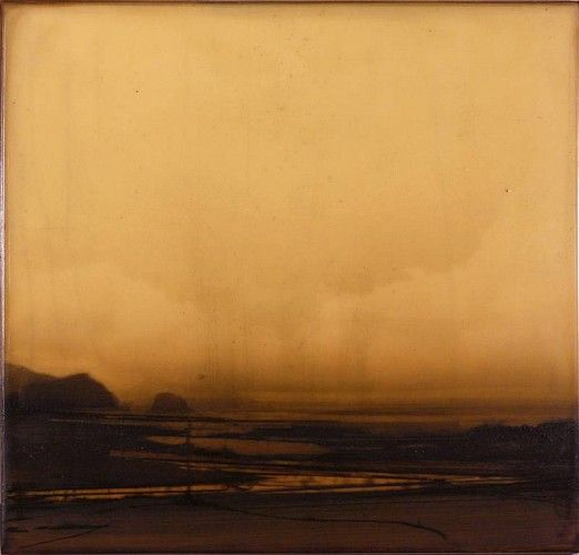 Dan Gualdoni, Coastal Redux #76 2011, Oil, printer's ink, glue medium on panel