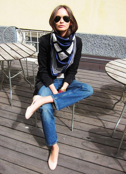 blazer / silk scarf / denim / flats | classic: