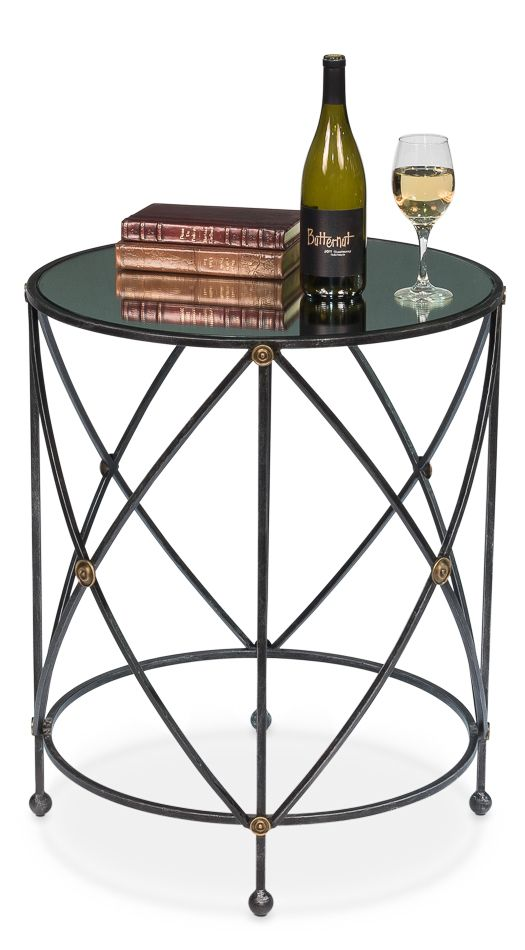 Drum Fife Lamp Table W Mirror Glass Tp 1 Glass Top End Tables End Tables Marble End Tables