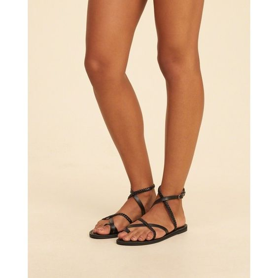 Hollister Mixed Strap Sandal ($25) ❤ liked on Polyvore featuring shoes and sandals