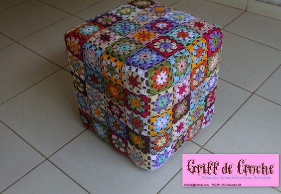 Capa de Puff Quadrados perfeitos   Griff de Crochê   Elo7