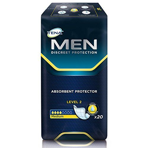 Tena For Men Level 2 1 Pack Of 20 Tena Men Is An Anatomically Shaped Pad Available In Three Absorbencies And Is Especi Tena Incontinence Pads Incontinence