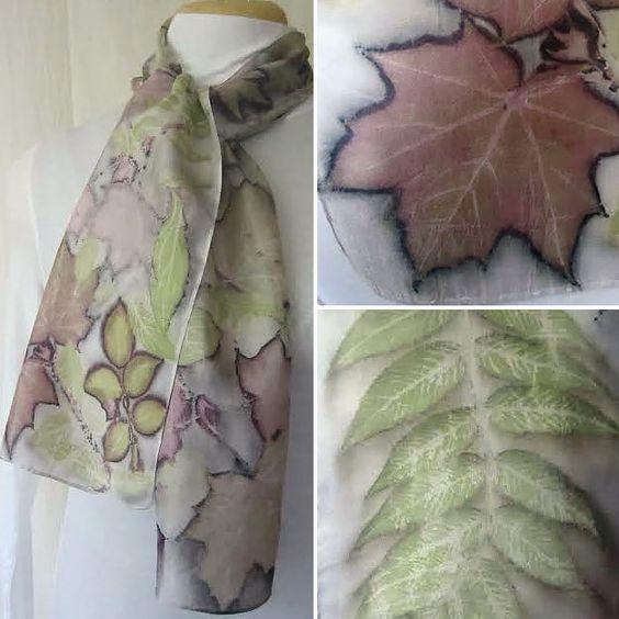 New silk scarf.Habotai silk scarf.Handmade.Eco print.Leaf pattern.Scarf.Eco dye.Multicolor.Artisan-crafted scarf.grey,green,brown,purple by ElenaFelt on Etsy