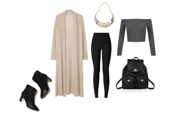 Ultimate comfort dressed up...leggings with a long cardigan & heeled booties