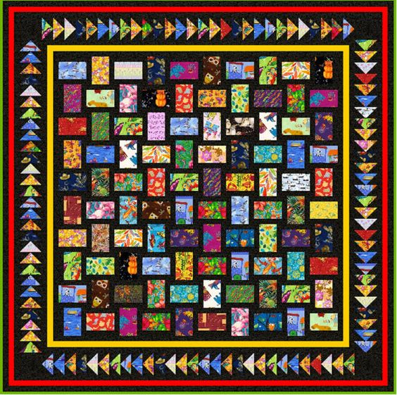 "WITH My LITTLE EYE - Double 71"" x 71"" or Small Double 63"" x 63"" - Quilt-Addicts Pre-cut Patchwork Quilt Kit or Finished Quilt"