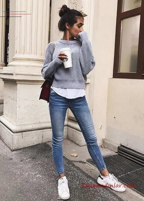2020 Bayan Gomlek Kazak Kombinleri Mavi Yuksel Bel Skinny Pantolon Beyaz Gomlek Gri Kazak Beyaz Spor Ayakkabi Womensfash In 2020 Outfits Herfstoutfits Coole Outfits