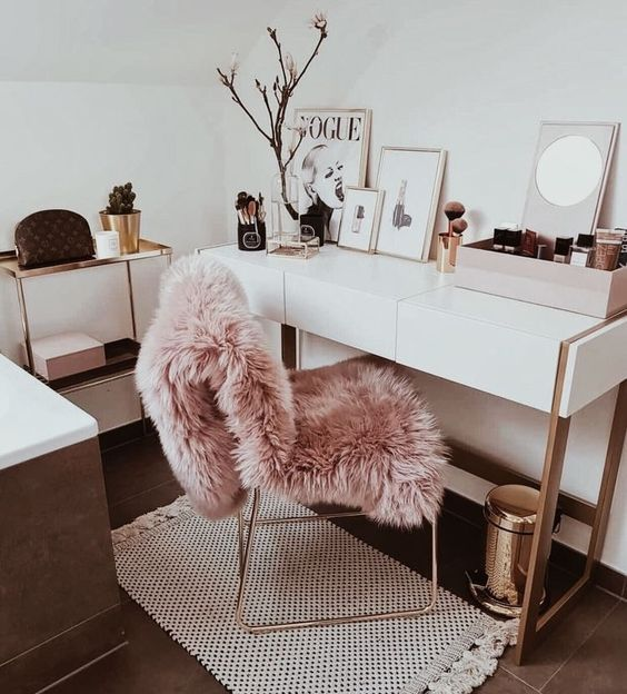 Modern pink white and gold home office