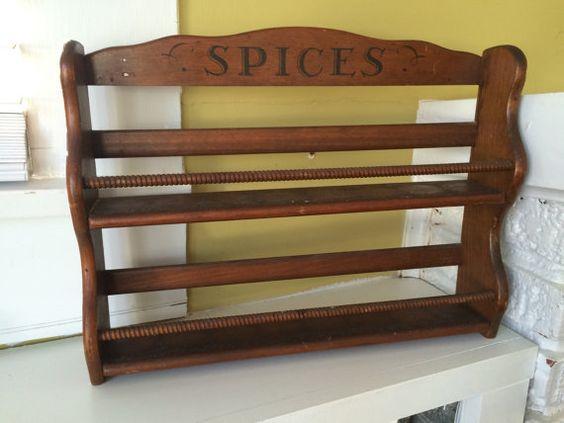 Étagère à épices en bois grand / tablette / axe tiges / épices imprimé
