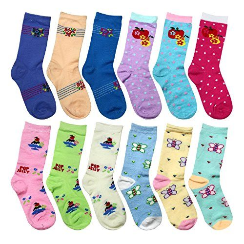 Maiwa Kids Cotton No Seams Crew Socks for Girls Boys 5 Pack