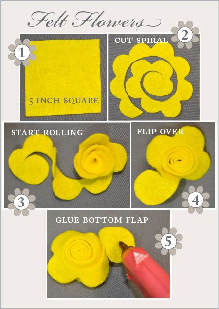 Felt Flowers. Cut a 5 inch square from felt. Cut a spiral pattern. Cut 1 inch scallops along the outer edge of spiral. Start rolling spiral until you reach center. Glue last petal to bottom of flower.