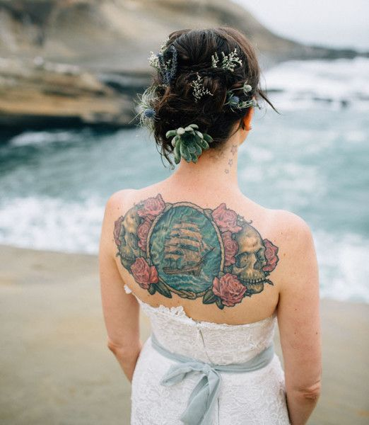 Succulents and Skulls - Gorgeous Brides Flaunting Gorgeous Tattoos - Photos