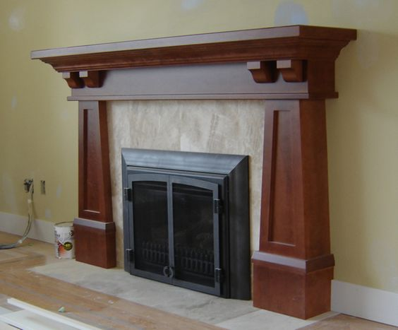 Arts and crafts mantels craftsman fireplace mantel for Craftsman fireplace pictures