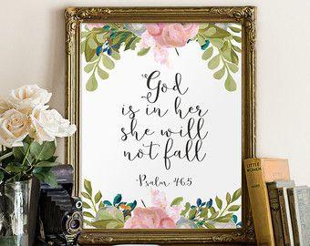 Psalm 46:5 Printable wall decor Bible verses por TwoBrushesDesigns