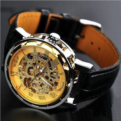 Men's watch / vintage watch / handmade watch / leather watch / chain hollow out mechanical watch (wat0041-gold)