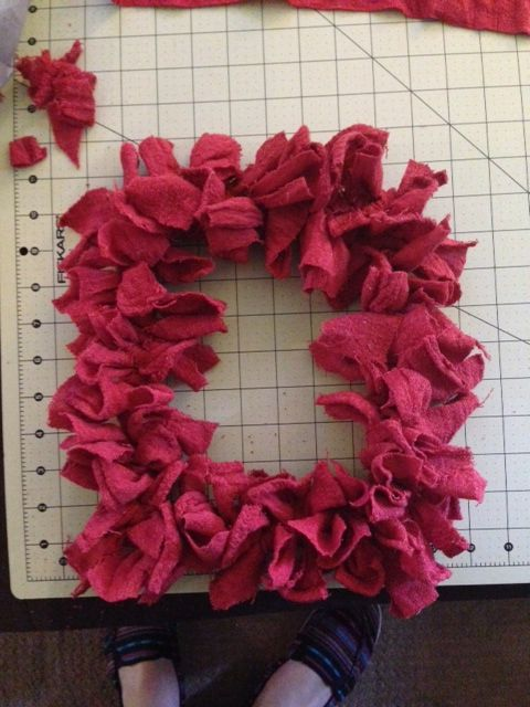 Made this wreath with shop rags!