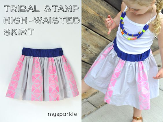 Tribal Stamp High-Waisted Skirt Tutorial by my sparkle
