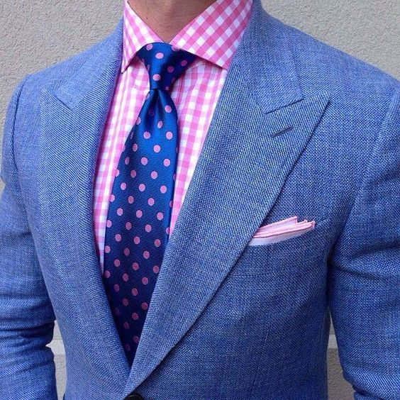 Pink check shirt with blue tie