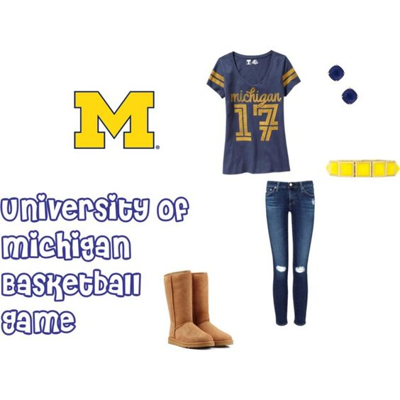 University of Michigan Basketball Game by taytay013 on Polyvore featuring Old Navy, AG Adriano Goldschmied, UGG Australia and Kate Spade