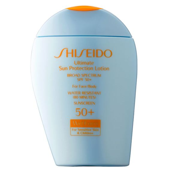 Shiseido Ultimate Sun Protection Lotion SPF 50+ WetForce for Sensitive Skin & Children. http://beautyeditor.ca/2016/06/22/best-mineral-sunscreen-for-face