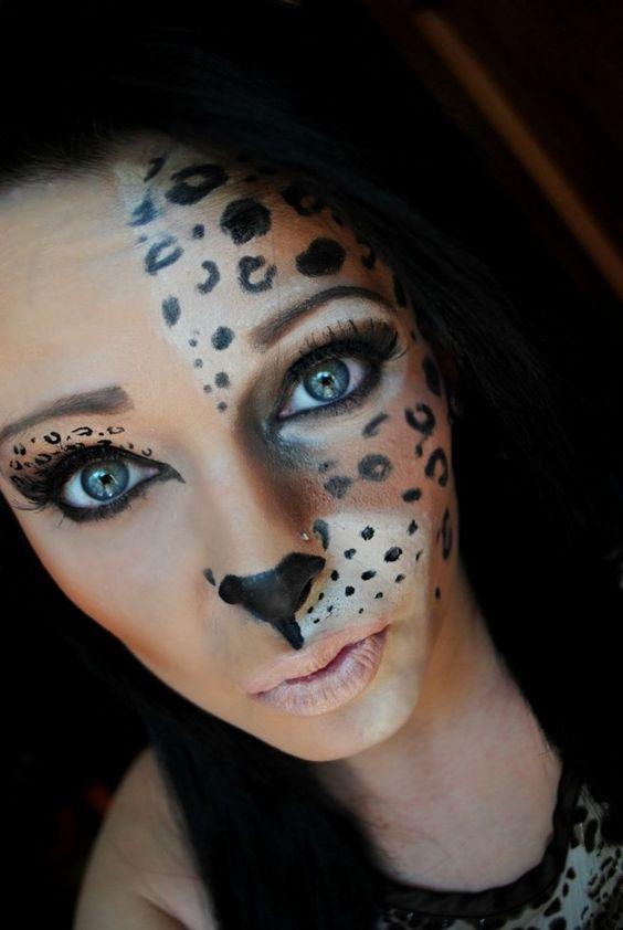 halloween schminke frauen tiere leoparden h lfte gesicht. Black Bedroom Furniture Sets. Home Design Ideas