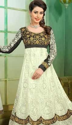 Indian Designer White Nett Churidar Anarkali Suit, Dress