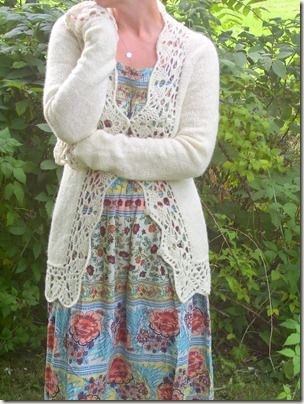 with a crochet border.  Beautiful!  And handspun!