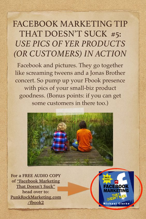"""For your FREE copy of the audiobook """"Facebook Marketing That Doesn't Suck"""" head over to http://punkrockmarketing.com/fbook2. Pictures are worth a 1K words (especially those showing happy customers holding your product.) So that's why #Facebook #Marketing That Doesn't Suck Tip No.5 is about getting yer products - and your customers - in your Facebook photos. #smm #socialmedia"""