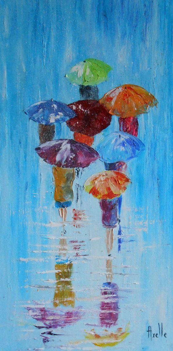 Tableau de 30 x 60 cm personnages avec des parapluies sous la pluie ou la nei - Comment faire un tableau contemporain ...