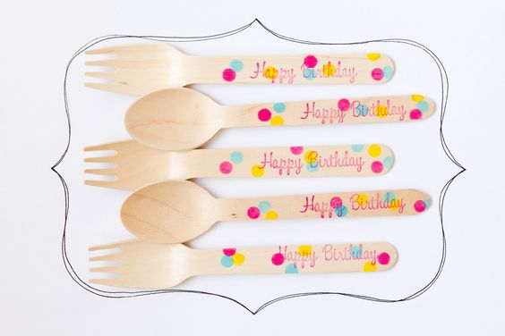 20 Wooden Forks or Spoons - Happy Birthday Confetti Polka Dots- Perfect Alternative To Plastic Utensils For Parties