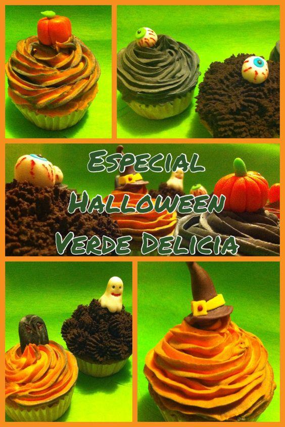 Halloween cupcakes... Naranja Y chocolate con ganache de chocolate