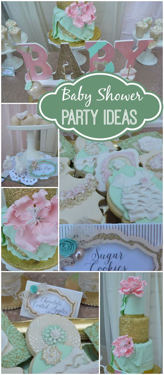 Such a beautiful blush and mint baby shower with a touch of glam and chic! See more party ideas at CatchMyParty.com!