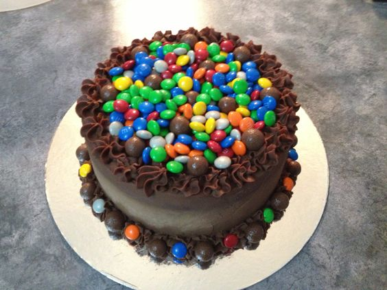 Chocolate overload diabetic coma cake!!! Chocolate mud cake with chocolate ganache and lots of M&M's and Maltesers.. OINK OINK