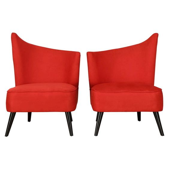 Have to have it. Armen Living Elegant Accent Chair with Flaired Back - Red Microfiber - $445.5 @hayneedle
