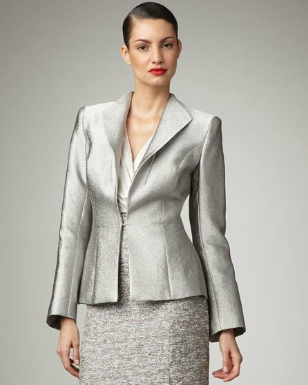 Silver Suits for Women | Silver Gray Button Less Skirt Suit