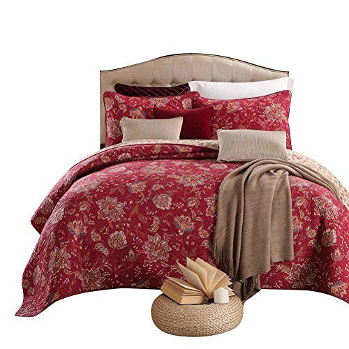 Bedspread Coverlet French Medallion Burgundy Red 100/% Cotton Quilt Set