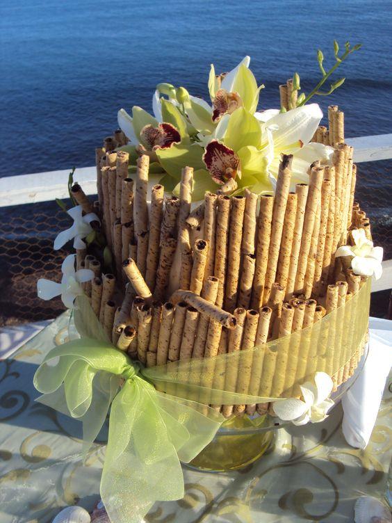 Hermoso y sencillo, pastel para boda en playa (Beautiful and simple, beach wedding cake)