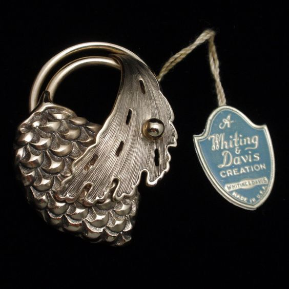 Pine Cone & Leaf Pin Vintage Whiting & Davis with Original Tag