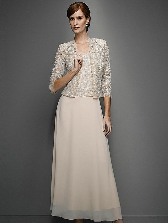 Karen Miller 96540 Chiffon Dress with Lace Jacket in Champagne ...