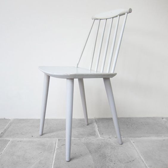 Original Danish Vintage Spindle Back Dining Chair 1950s Soft White Factory Pa