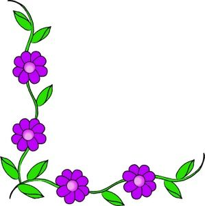 Vine Clipart Image - Purple flowers on a vine making up a page border