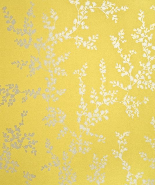 Shadow Fern Floral Wallpaper Metallic silver shadow fern print on strong yellow wallpaper.