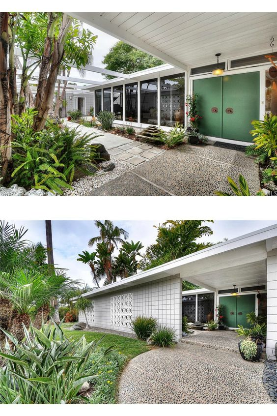 midcentury mid century modern white home exterior high tall front door doors entrance walkway porch patio yard front lawn