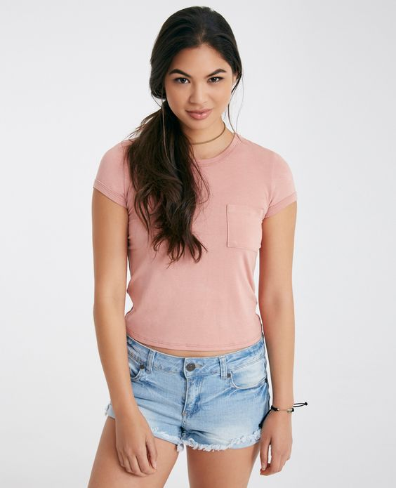 Solid Baby Tee With Pocket | Wet Seal